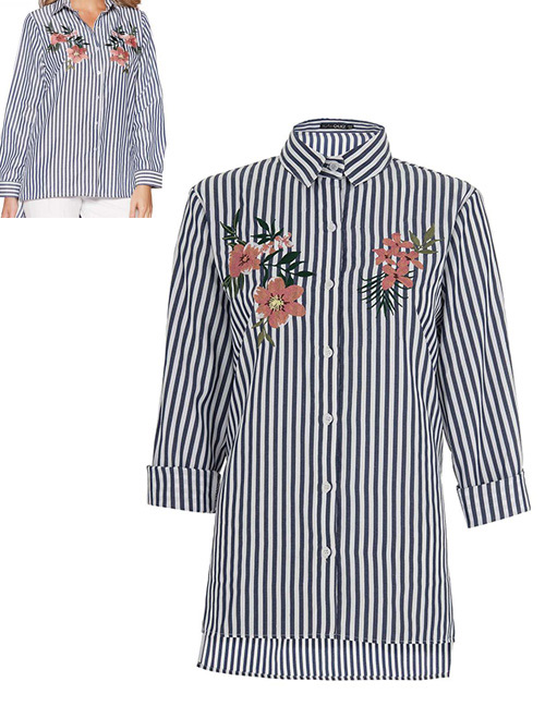 Fashion White+black Embroidery Flower Decorated Long Sleeves Shirt