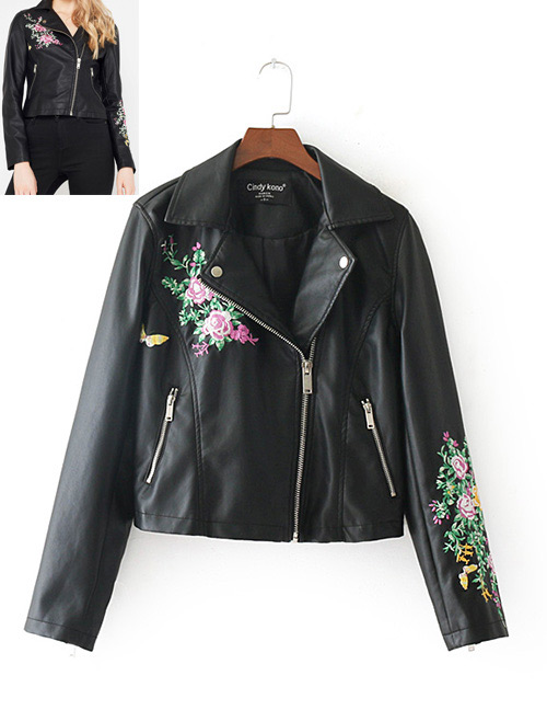 Fashion Black Butterfly Pattern Decorated Embroidery Jacket