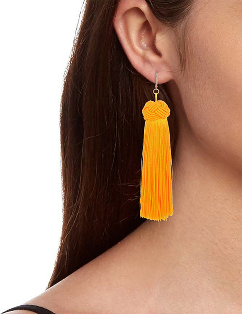 Fashion Yellow Pure Color Decorated Long Earrings