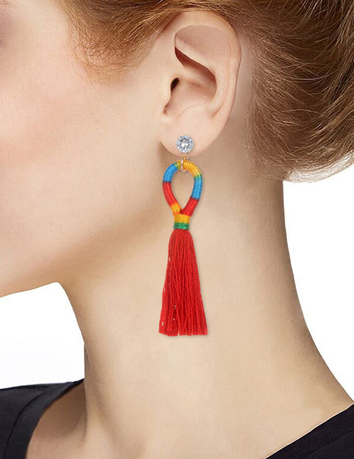 Fashion Red Long Tassel Decorated Simple Earrings