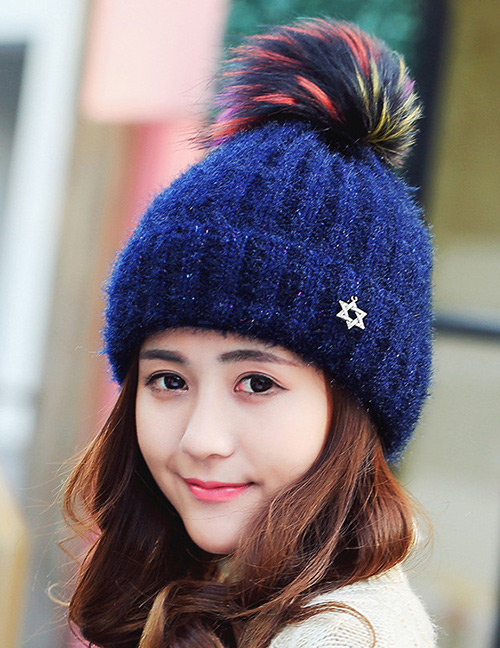Fashion Navy Star Decorated Hat