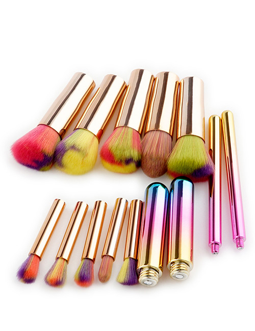 Fashion Multi-color Round Shape Decorated Makeup Brush ( 10 Pcs )