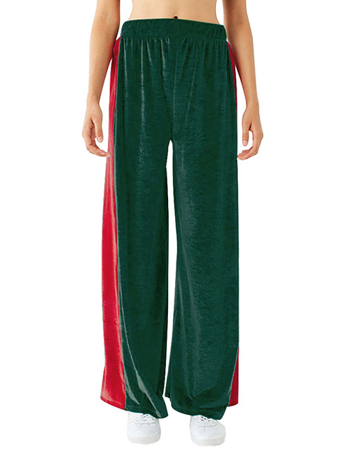 Fashion Green Color Matching Decorated Ultra-wide-leg Trousers