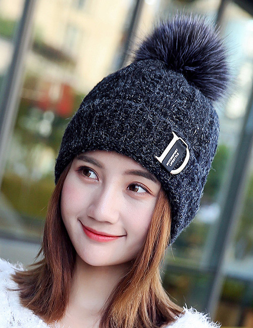 Fashion Black Letter D Decorated Hat