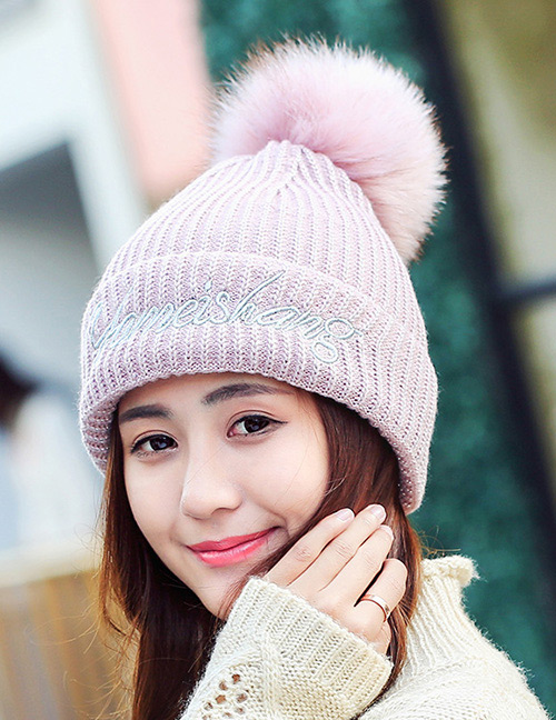 Fashion Pink Letter Pattern Decorated Hat