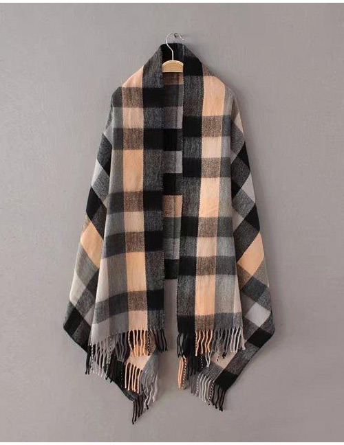 Fashion Orange+black Grid Pattern Decorated Scarf