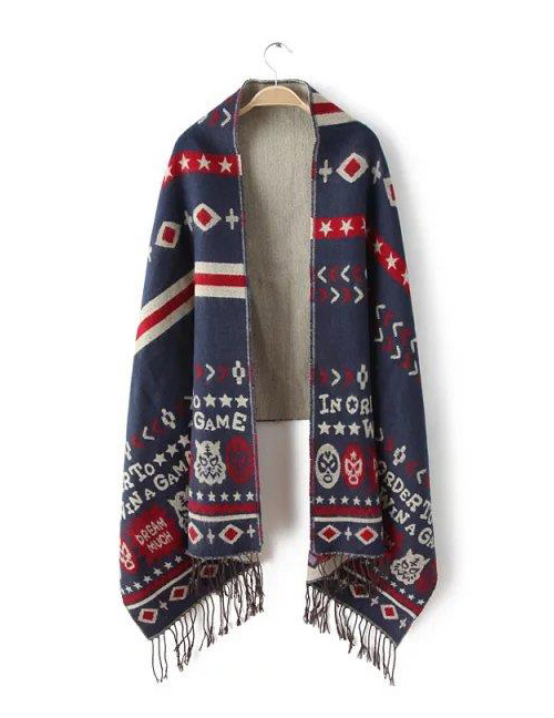 Fashion Navy Letter Pattern Decorated Scarf