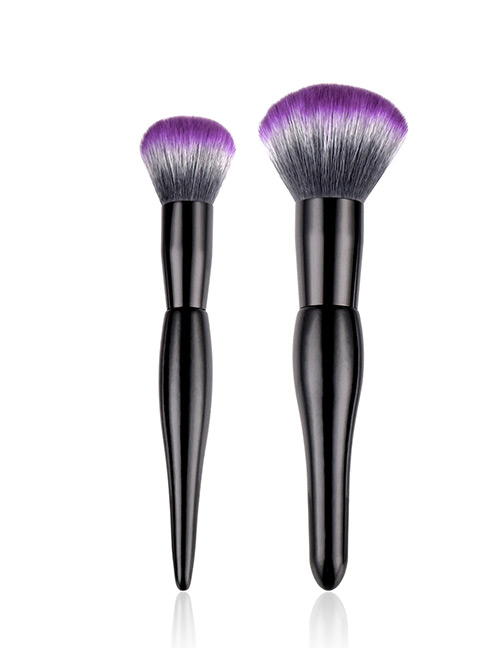 Fashion Purple+black Sector Shape Decorated Makeup Brush (2 Pcs )