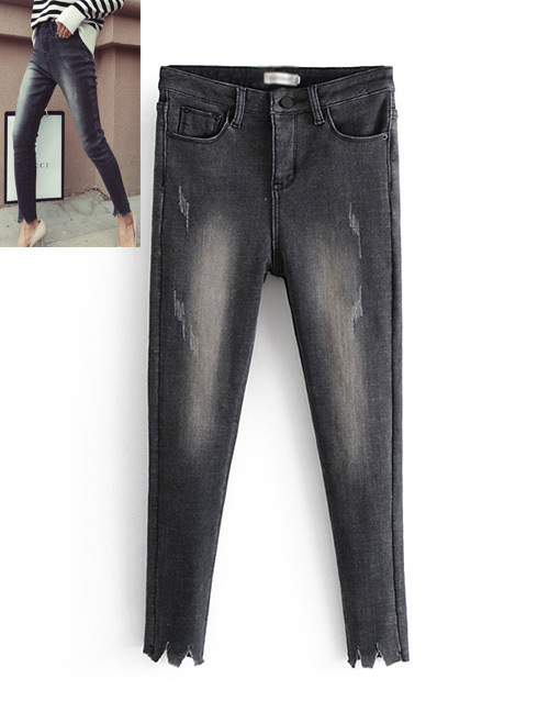 Fashion Black Pure Color Decorated Jeans