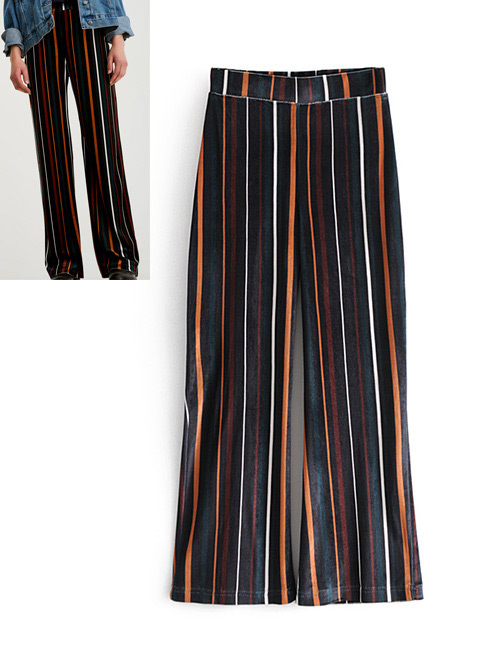 Trendy Multi-color Stripe Pattern Decorated Trousers