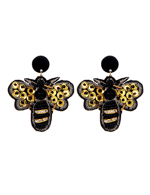 Fashion Black+gold Color Bee Shape Decorated Earrings