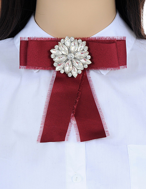 Fashion Claret Red Flower Shape Decorated Bowknot Brooch