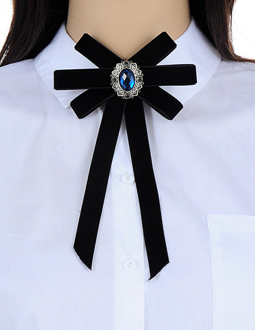 Fashion Black Pure Color Decorated Bowknot Brooch