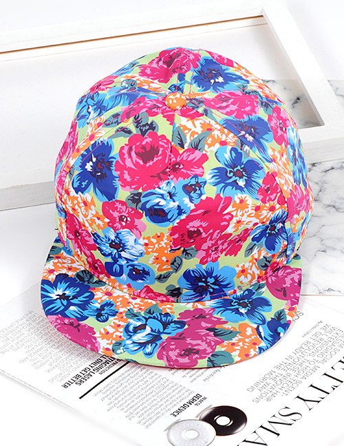 Fashion Plum-red +blue Flower Shape Decorated Hat