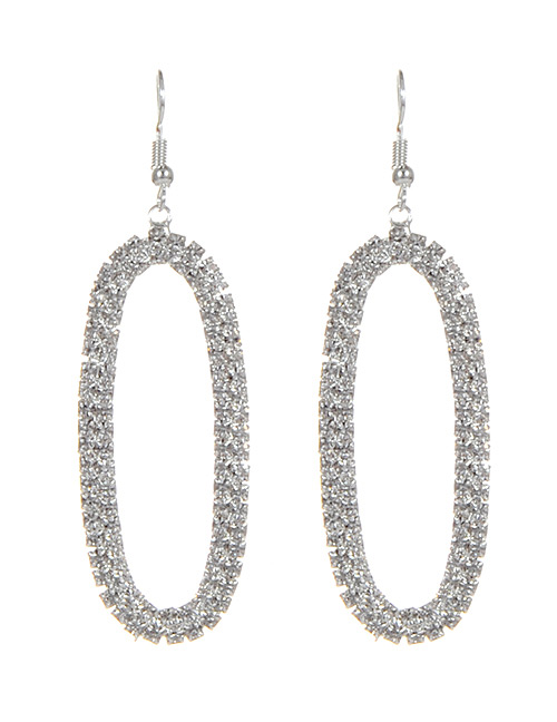Elegant Silver Color Oval Shape Decorated Earrings