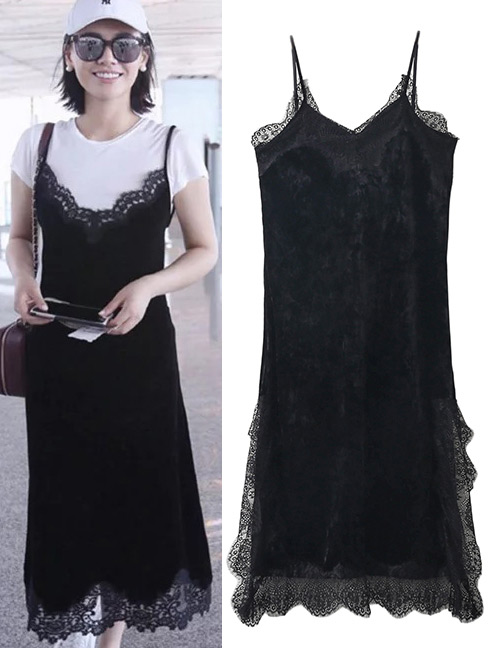 Fashion Black Pure Color Decoraed Dress