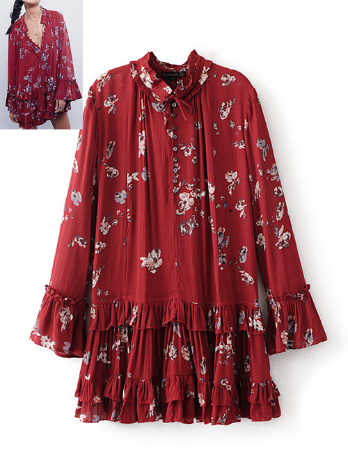 Fashion Claret-color Printing Pattern Decorated Dress