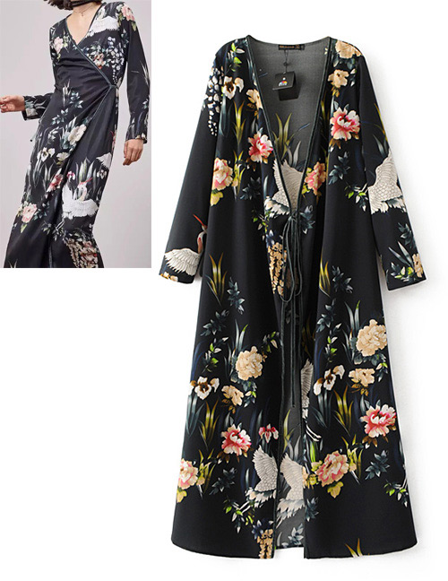 Fashion Black Flower Pattern Decortaed Dress
