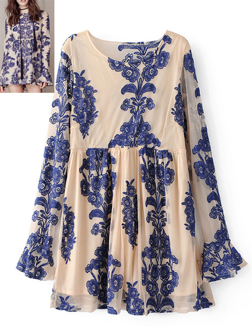 Fashion Pink+blue Printing Pattern Decorated Dress