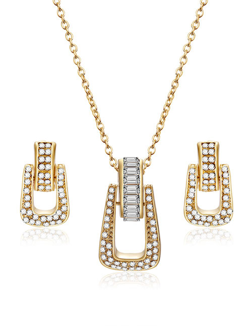 Fashion Gold Color Geometric Shape Decorated Jewelry Sets(2pcs)