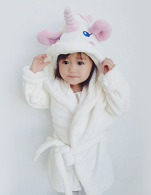 Lovely White Unicorn Decorated Children Bathrobe