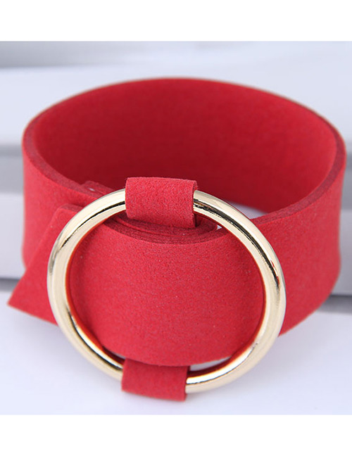 Elegant Red+gold Color Circular Ring Decorated Wide Bracelet