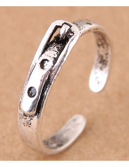 Vintage Antique Silver Buckle Shape Decorated Opening Ring