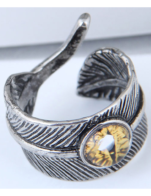 Vintage Yellow Feather&eye Shape Design Ring