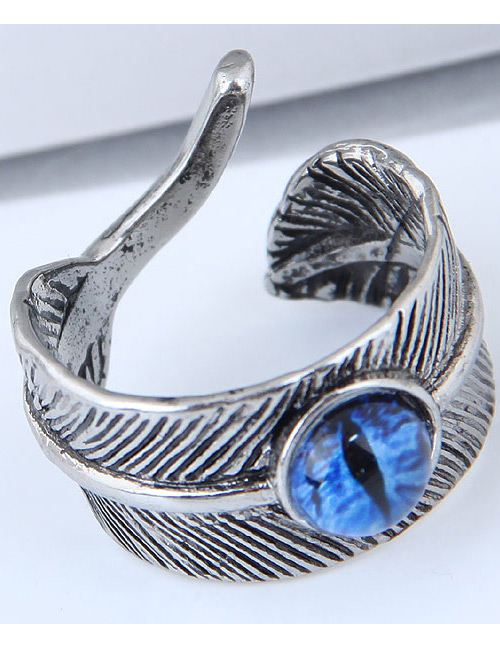 Vintage Blue Feather&eye Shape Design Ring