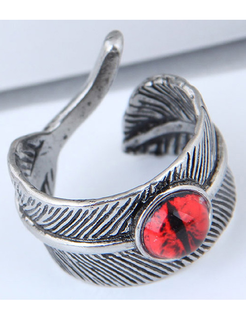 Vintage Red Feather&eye Shape Design Ring