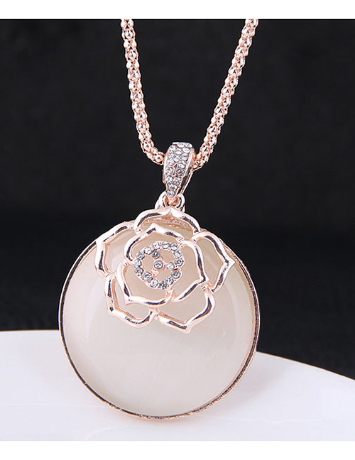 Fashion Rose Gold Hollow Out Flower Decorated Necklace