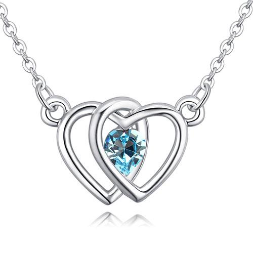 Fashion Blue Heart Shape Decorated Necklace