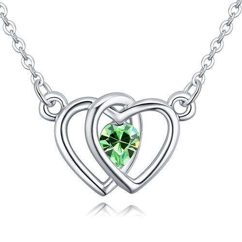 Fashion Green Heart Shape Decorated Necklace