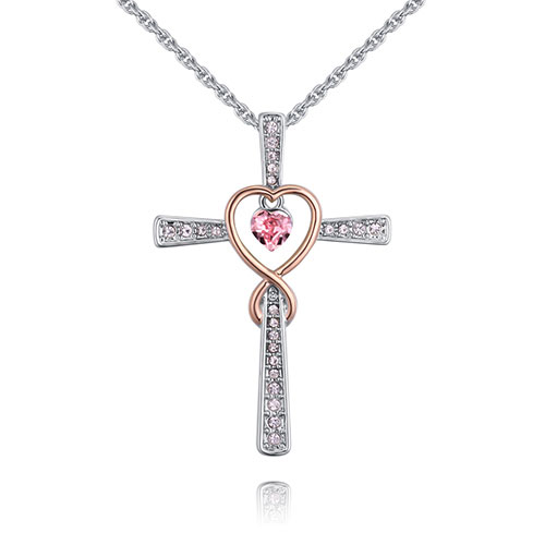 Fashion Pink Cross Shape Decorated Necklace