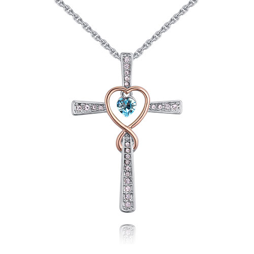 Fashion Blue Cross Shape Decorated Necklace