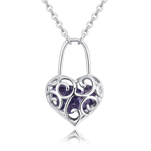Fashion Purple Hollow Out Shape Decorated Necklace
