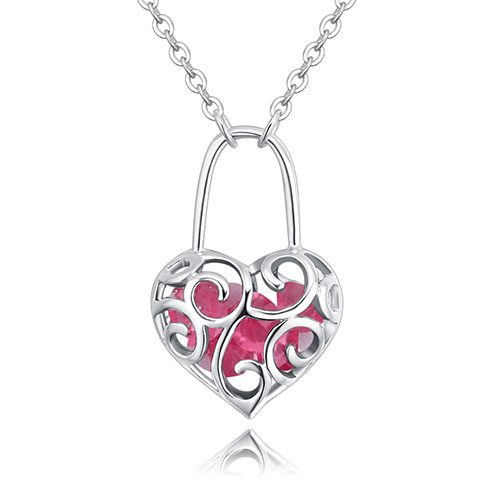 Fashion Pink Hollow Out Shape Decorated Necklace