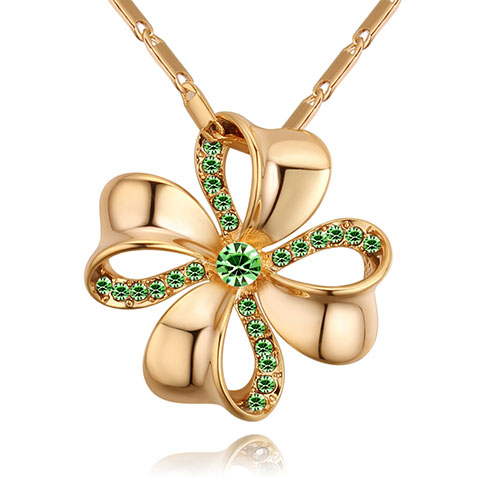 Fashion Gold Color +green Flower Shape Decorated Necklace