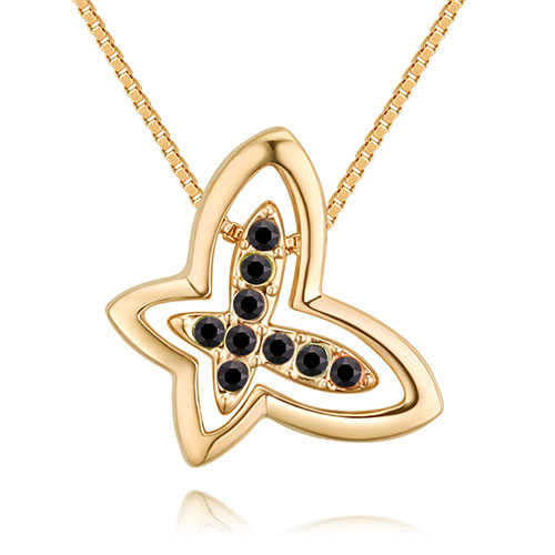 Fashion Gold Color+black Butterfly Shape Decorated Necklace