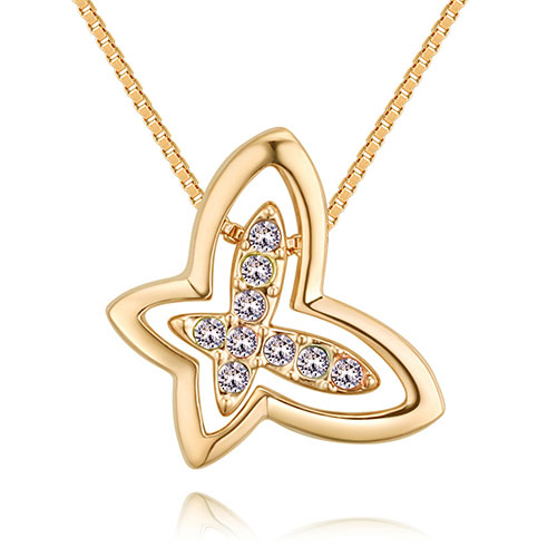 Fashion Gold Color+white Butterfly Shape Decorated Necklace