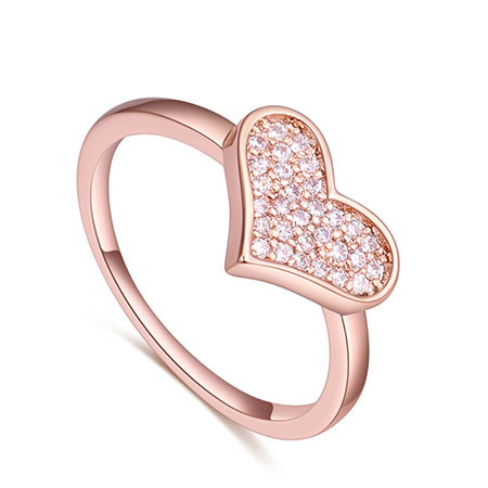 Fashion Rose Gold Heart Shape Decorated Ring