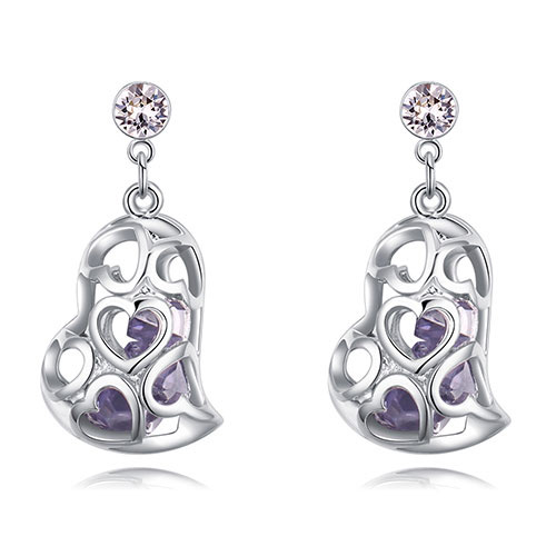 Fashion Purple Hollow Out Shape Design Earrings