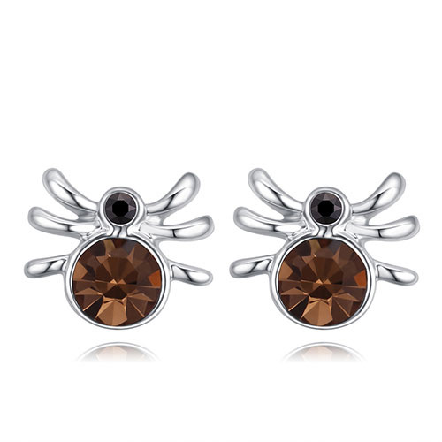 Fashion Brown Spider Shape Decorated Earrings