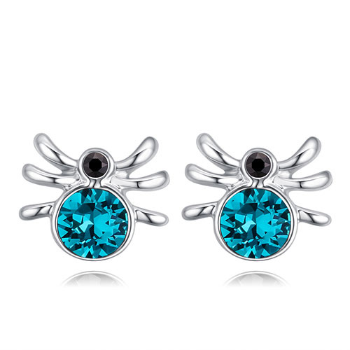 Fashion Blue Spider Shape Decorated Earrings