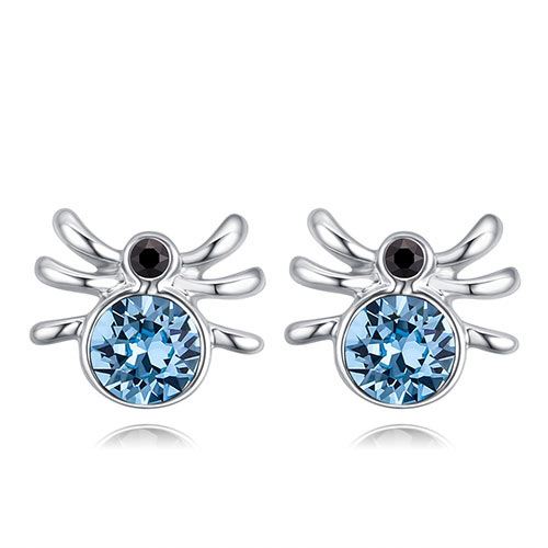 Fashion Light Blue Spider Shape Decorated Earrings