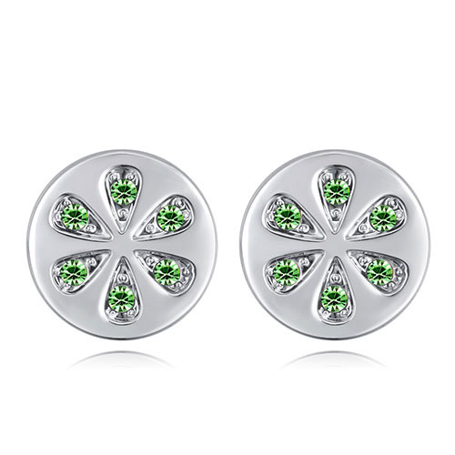 Fashion Olive Round Shape Decorated Earrings