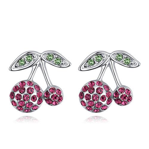 Fashion Plum Red Cherry Shape Design Earrings