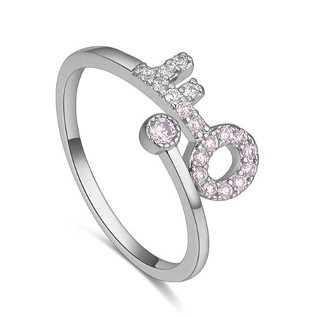Fashion Silver Color Key Shape Decorated Ring