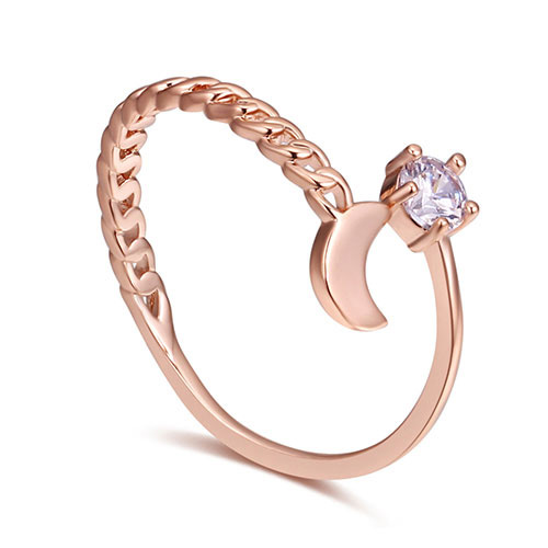 Fashion Rose Gold Moon Shape Deocrated Ring