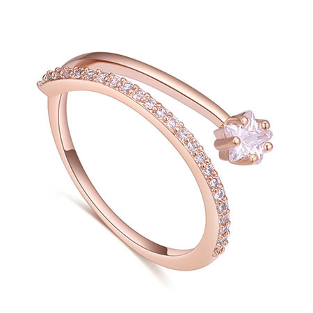 Fashion Rose Gold Flower Shape Decorated Ring